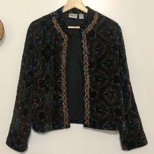 Chico's Dark Olive Velvet Beaded Jacket